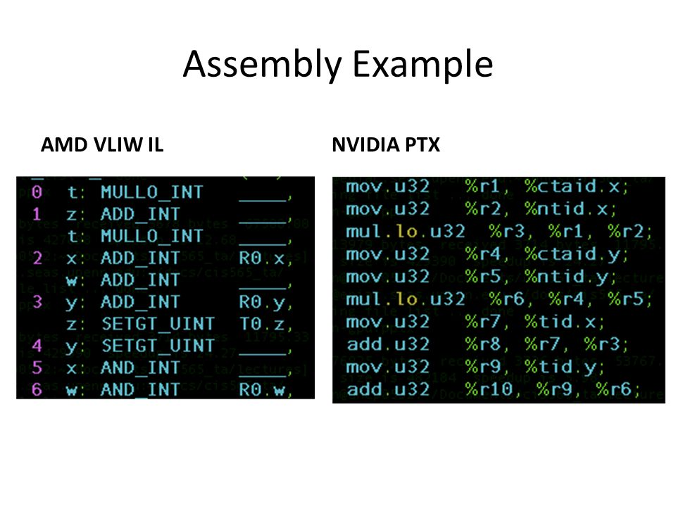 Assembly Example AMD VLIW ILNVIDIA PTX