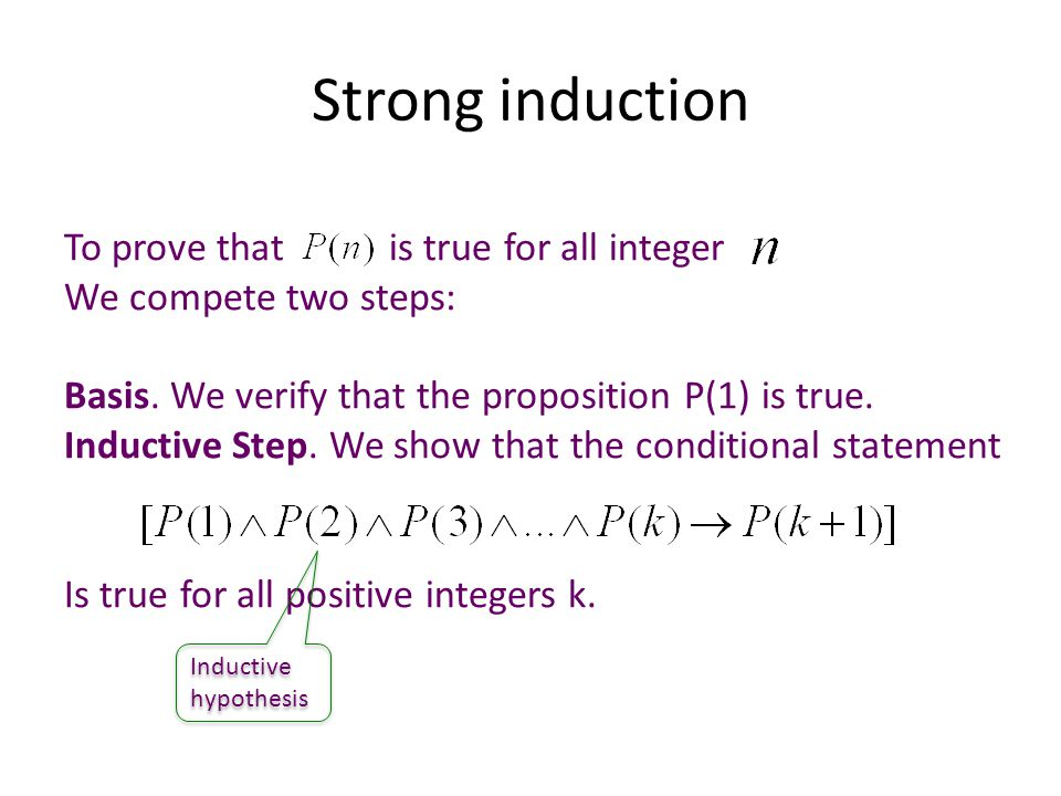 Strong induction To prove that is true for all integer We compete two steps: Basis.