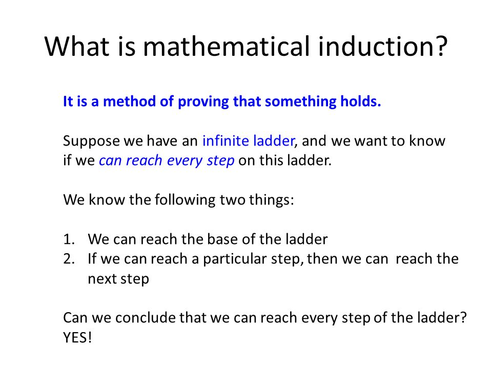 What is mathematical induction. It is a method of proving that something holds.