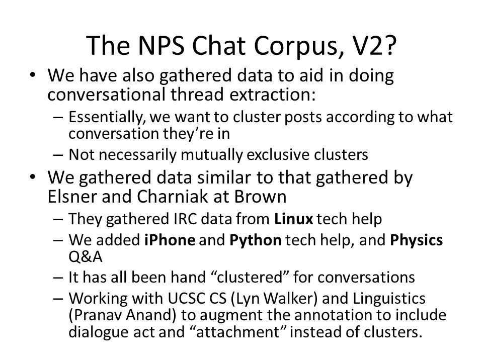 The NPS Chat Corpus, V2.
