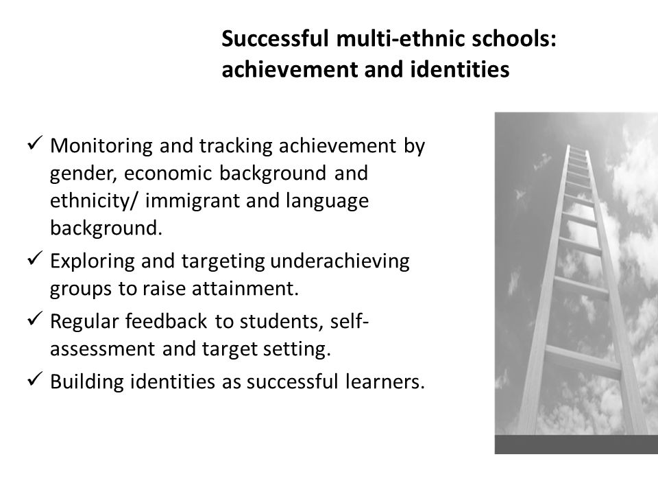 Successful multi-ethnic schools: achievement and identities Monitoring and tracking achievement by gender, economic background and ethnicity/ immigran