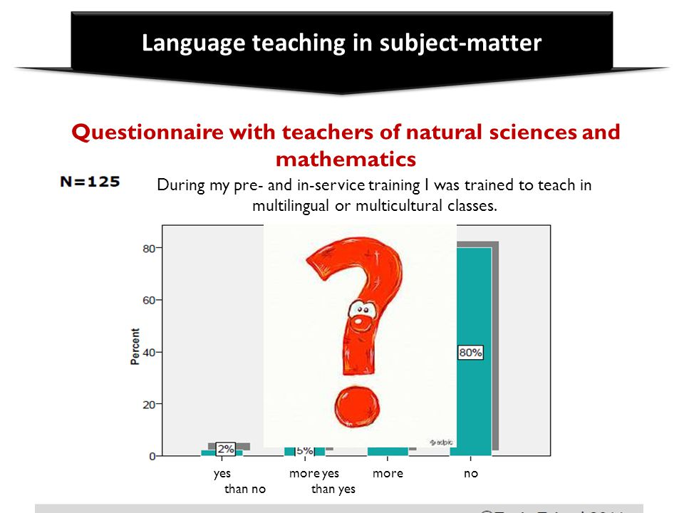 Language teaching in subject-matter Questionnaire with teachers of natural sciences and mathematics During my pre- and in-service training I was train