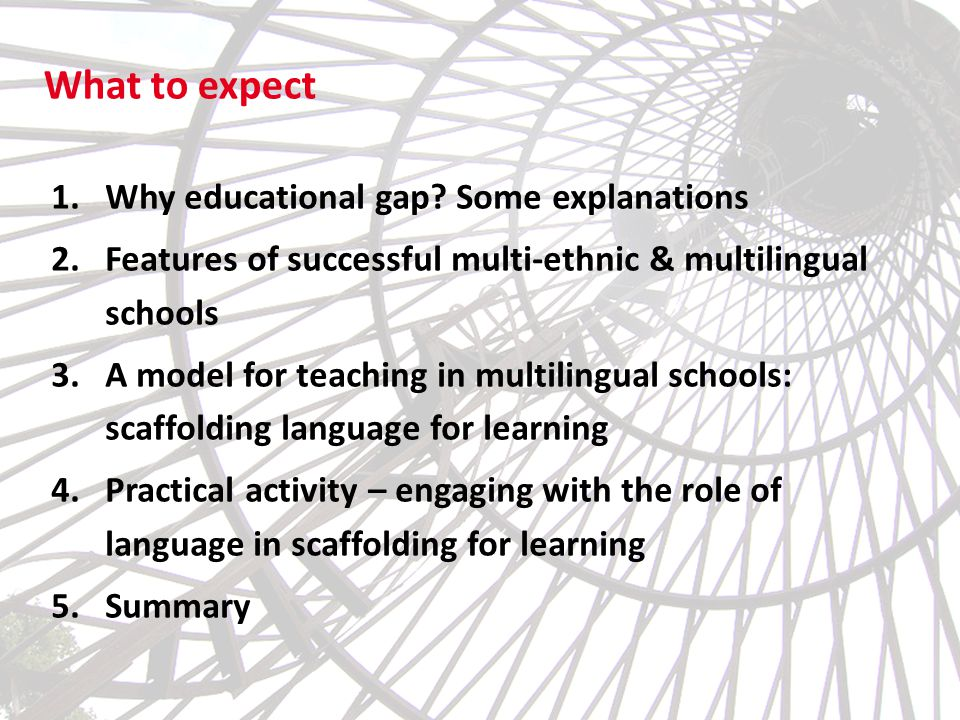 What to expect 1.Why educational gap? Some explanations 2.Features of successful multi-ethnic & multilingual schools 3.A model for teaching in multili