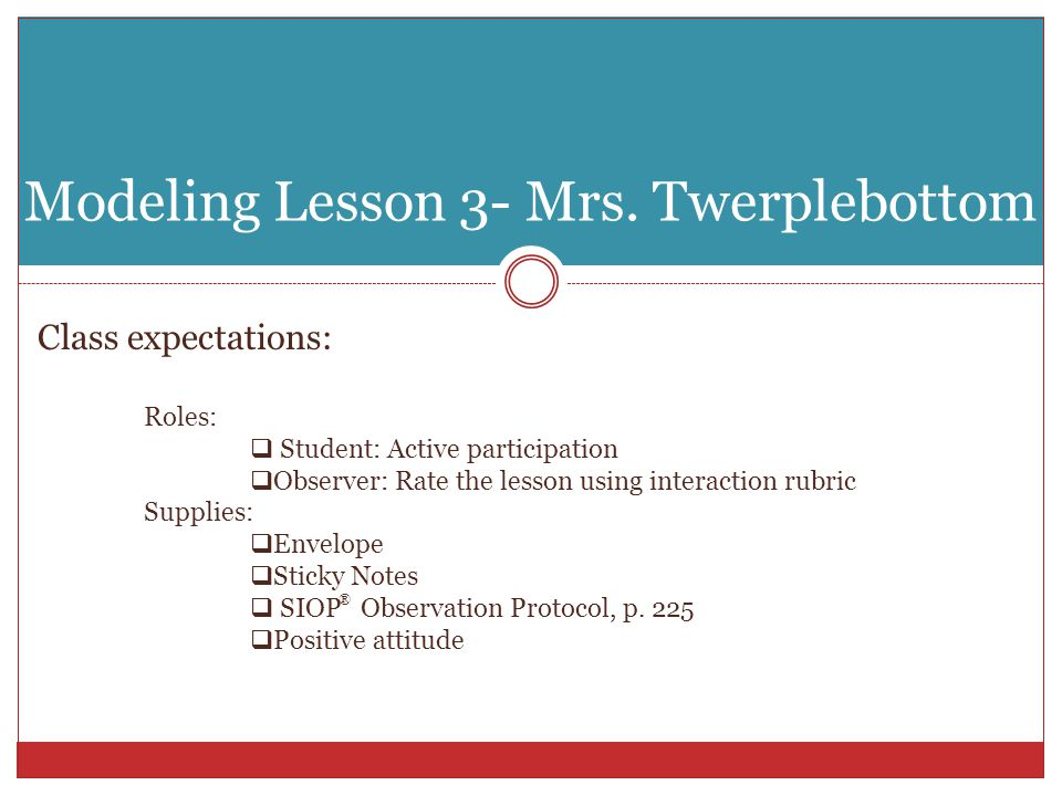 Modeling Lesson 3- Mrs. Twerplebottom Class expectations: Roles:  Student: Active participation  Observer: Rate the lesson using interaction rubric