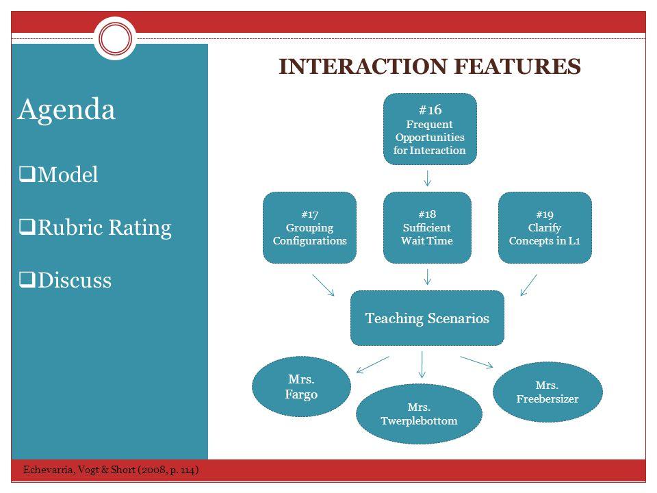 INTERACTION FEATURES Echevarria, Vogt & Short (2008, p.
