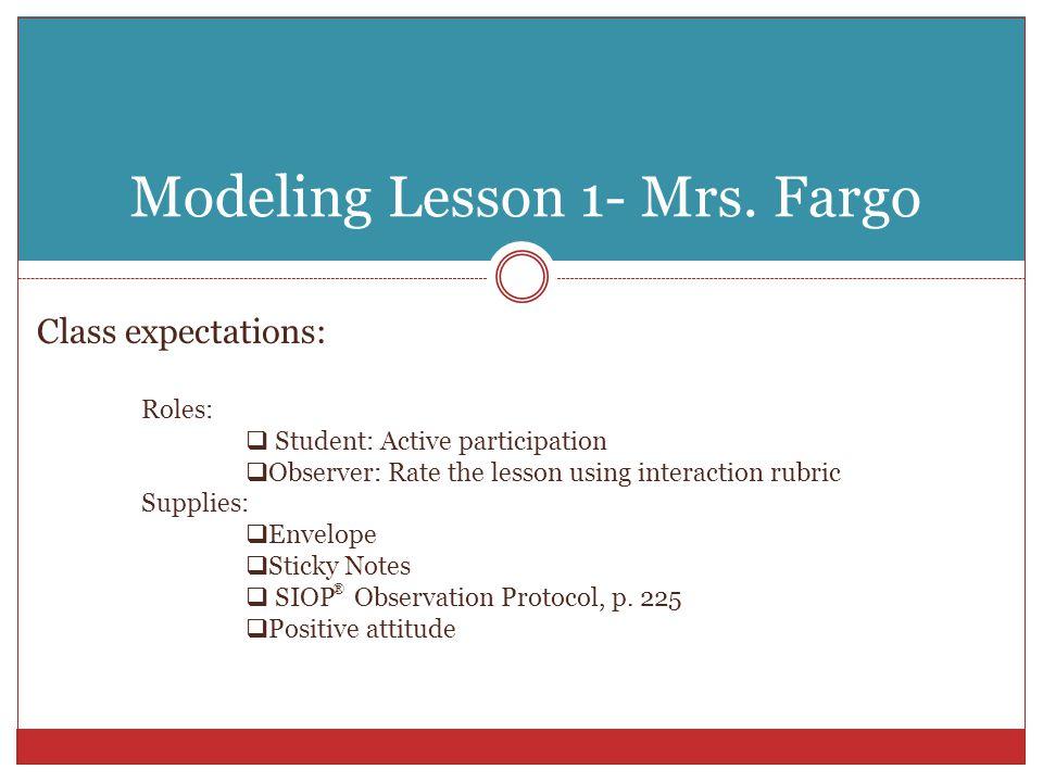 Modeling Lesson 1- Mrs.