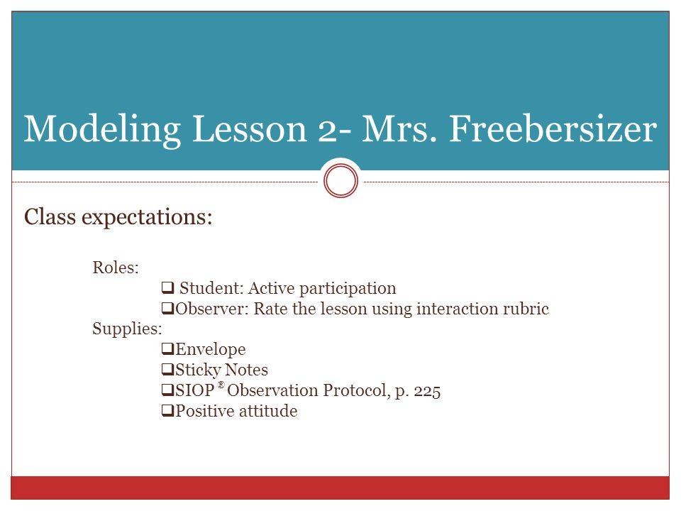 Modeling Lesson 2- Mrs.