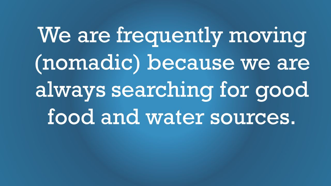 We are frequently moving (nomadic) because we are always searching for good food and water sources.