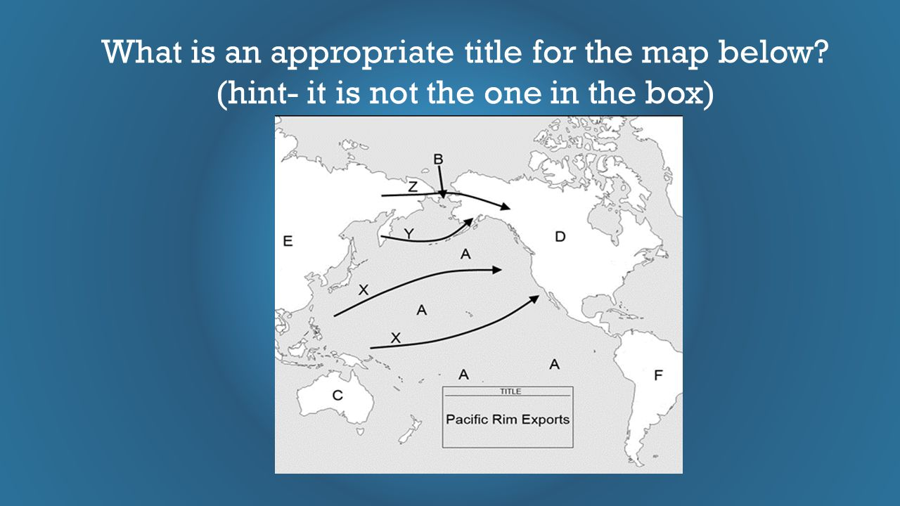 What is an appropriate title for the map below? (hint- it is not the one in the box)