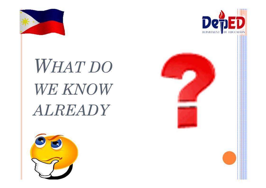 W HAT DO WE KNOW ALREADY