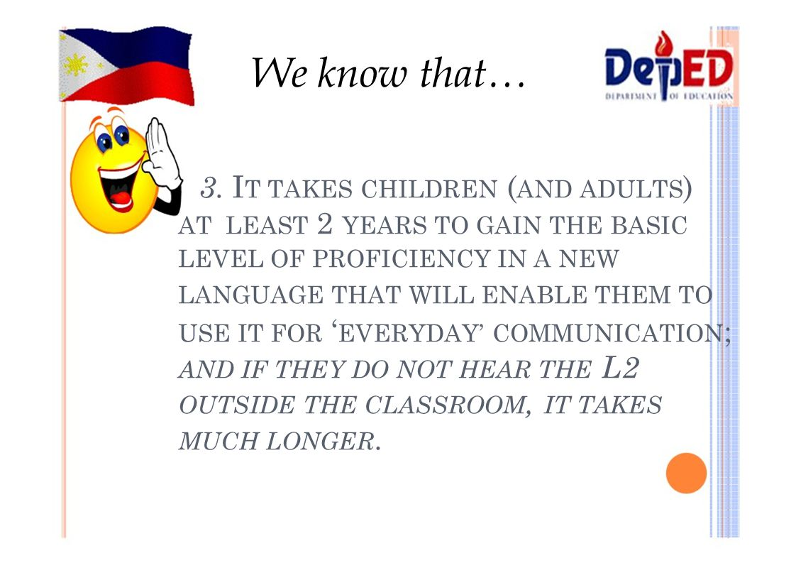 We know that… 3. I T TAKES CHILDREN ( AND ADULTS ) AT LEAST 2 YEARS TO GAIN THE BASIC LEVEL OF PROFICIENCY IN A NEW LANGUAGE THAT WILL ENABLE THEM TO