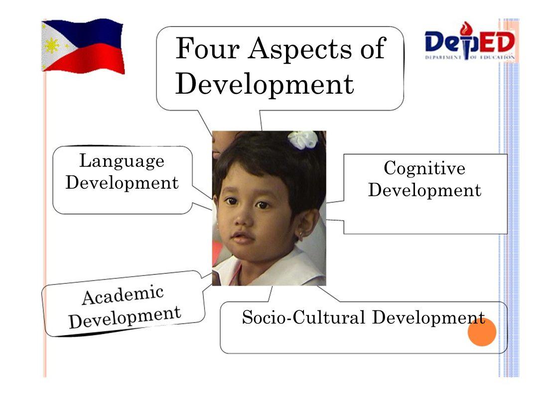 Four Aspects of Development Language Development Cognitive Development Socio-Cultural Development