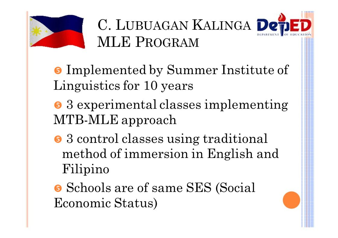 C. L UBUAGAN K ALINGA MLE P ROGRAM  Implemented by Summer Institute of Linguistics for 10 years  3 experimental classes implementing MTB-MLE approac
