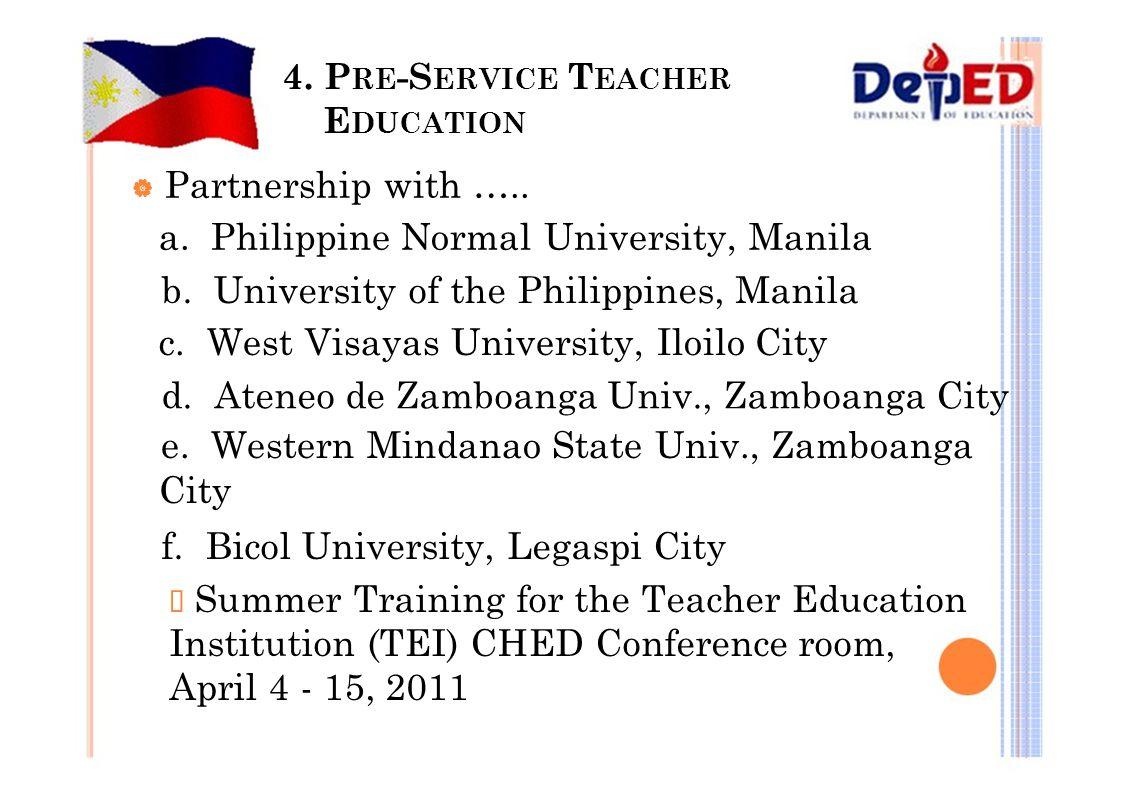 4. P RE -S ERVICE T EACHER E DUCATION  Partnership with ….. a. Philippine Normal University, Manila b. University of the Philippines, Manila c. West