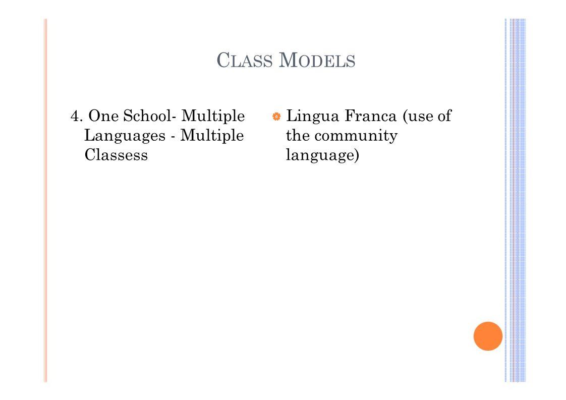 C LASS M ODELS 4. One School- Multiple  Lingua Franca (use of Languages - Multiplethe community Classesslanguage)