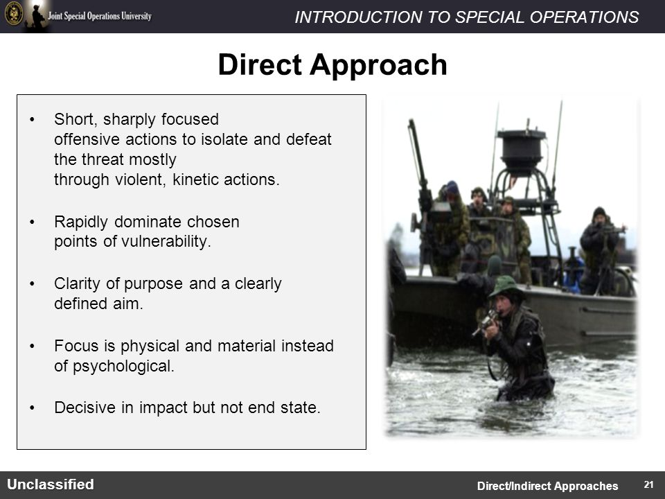 INTRODUCTION TO SPECIAL OPERATIONSUnclassified Short, sharply focused offensive actions to isolate and defeat the threat mostly through violent, kinetic actions.