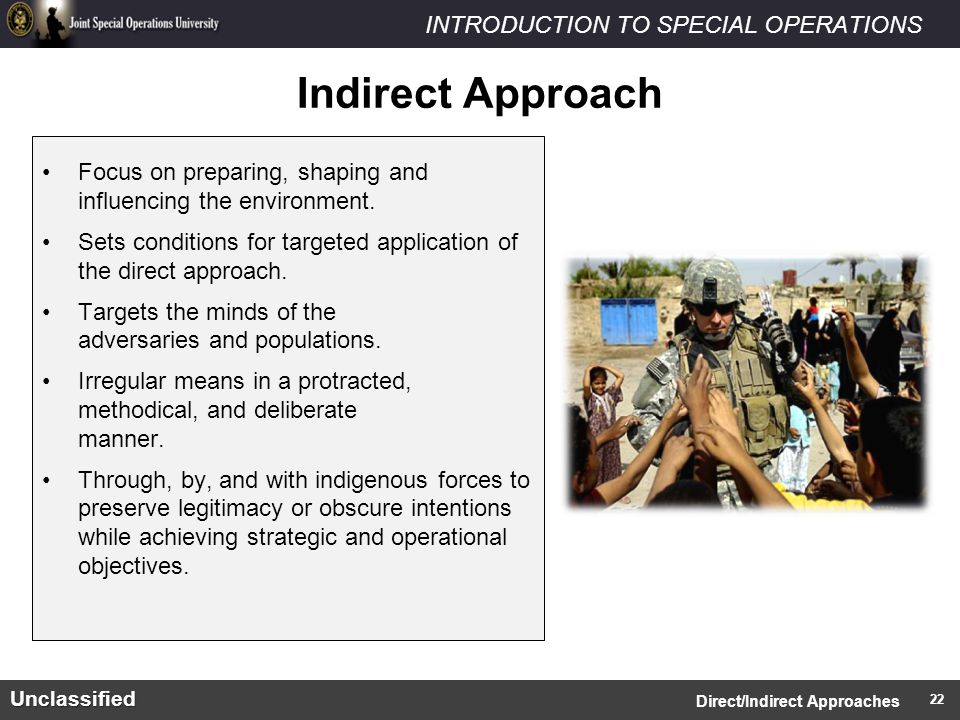INTRODUCTION TO SPECIAL OPERATIONSUnclassified Focus on preparing, shaping and influencing the environment.