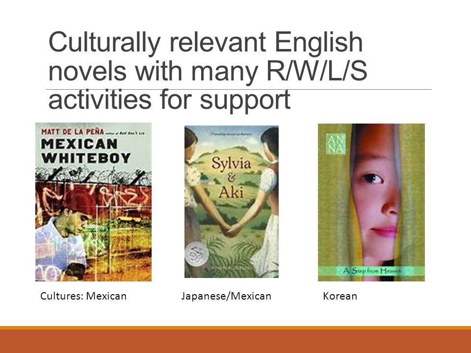 Culturally relevant English novels with many R/W/L/S activities for support Cultures: MexicanJapanese/MexicanKorean