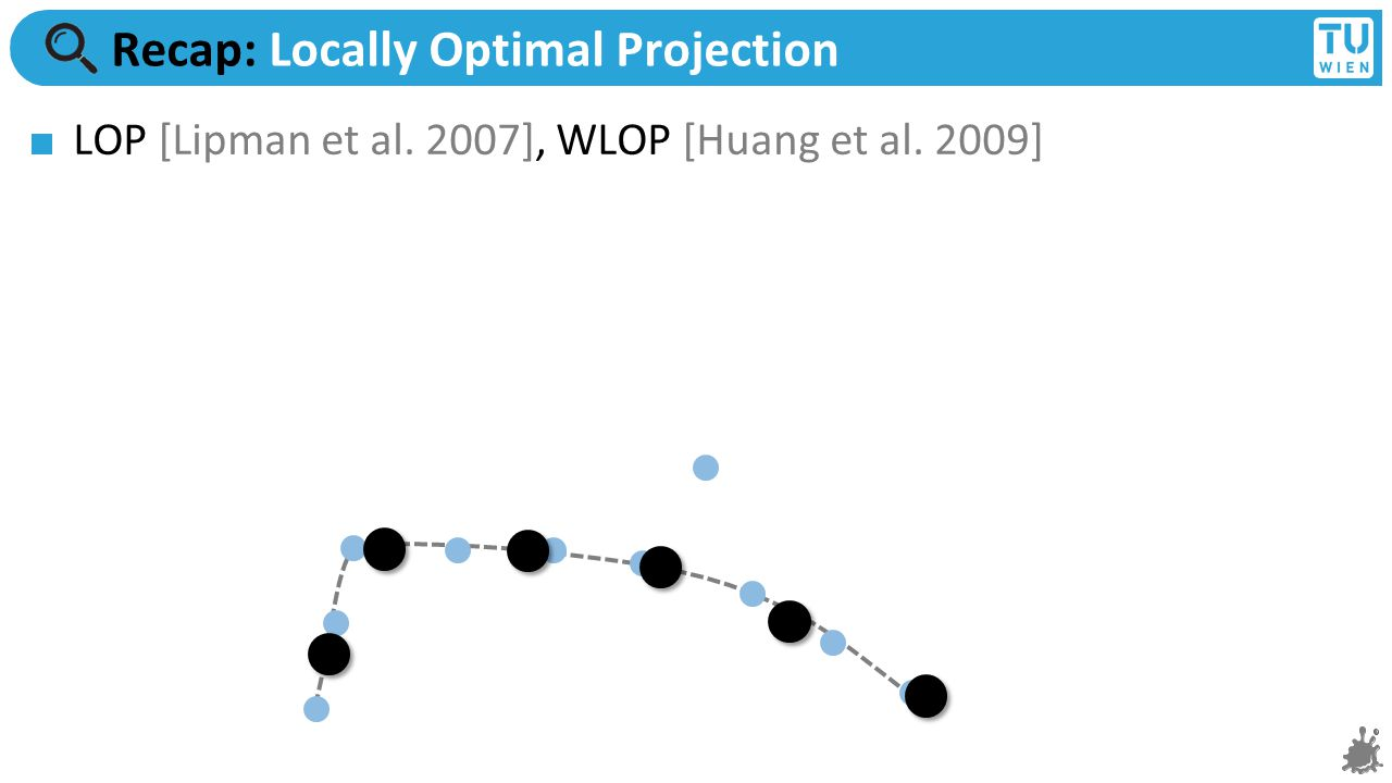 Recap: Locally Optimal Projection LOP [Lipman et al. 2007], WLOP [Huang et al. 2009]