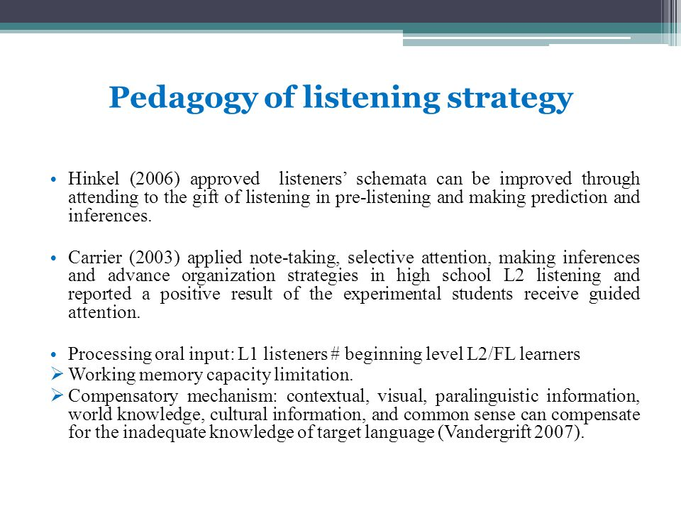 Pedagogy of listening strategy Hinkel (2006) approved listeners' schemata can be improved through attending to the gift of listening in pre-listening