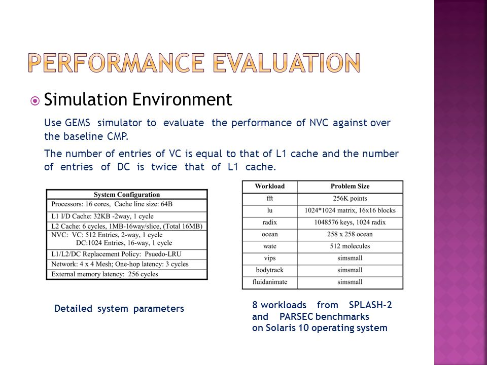 Simulation Environment Use GEMS simulator to evaluate the performance of NVC against over the baseline CMP.