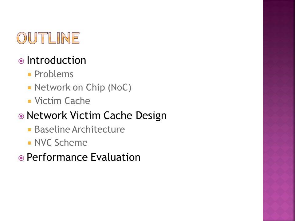  Introduction  Problems  Network on Chip (NoC)  Victim Cache  Network Victim Cache Design  Baseline Architecture  NVC Scheme  Performance Eval