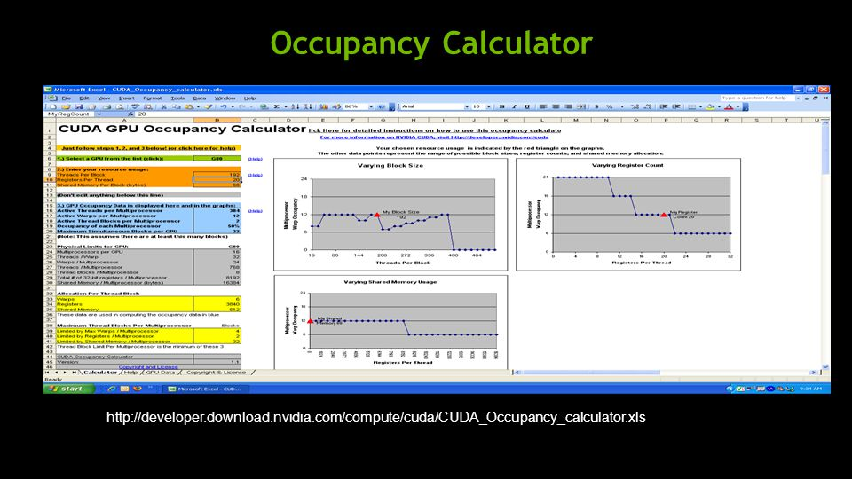 Occupancy Calculator http://developer.download.nvidia.com/compute/cuda/CUDA_Occupancy_calculator.xls