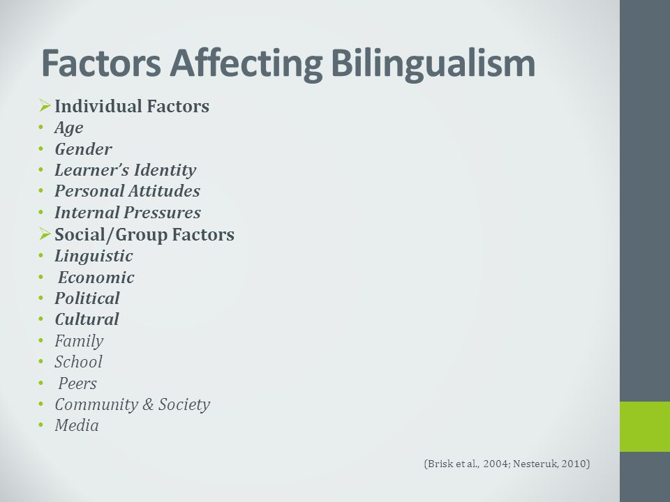 Factors Affecting Bilingualism  Individual Factors Age Gender Learner's Identity Personal Attitudes Internal Pressures  Social/Group Factors Linguistic Economic Political Cultural Family School Peers Community & Society Media (Brisk et al., 2004; Nesteruk, 2010)