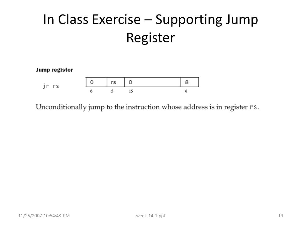 11/25/2007 10:54:43 PMweek-14-1.ppt19 In Class Exercise – Supporting Jump Register
