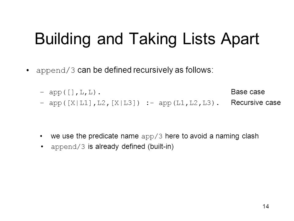 14 Building and Taking Lists Apart append/3 can be defined recursively as follows: –app([],L,L).