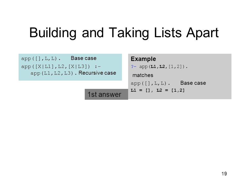 19 Building and Taking Lists Apart app([],L,L). Base case app([X|L1],L2,[X|L3]) :- app(L1,L2,L3).