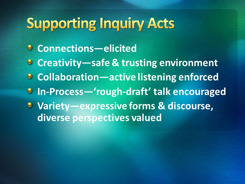Connections—elicited Creativity—safe & trusting environment Collaboration—active listening enforced In-Process—'rough-draft' talk encouraged Variety—e