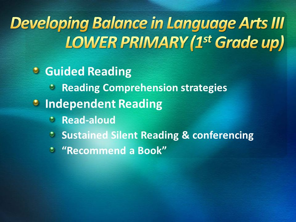 Guided Reading Reading Comprehension strategies Independent Reading Read-aloud Sustained Silent Reading & conferencing Recommend a Book