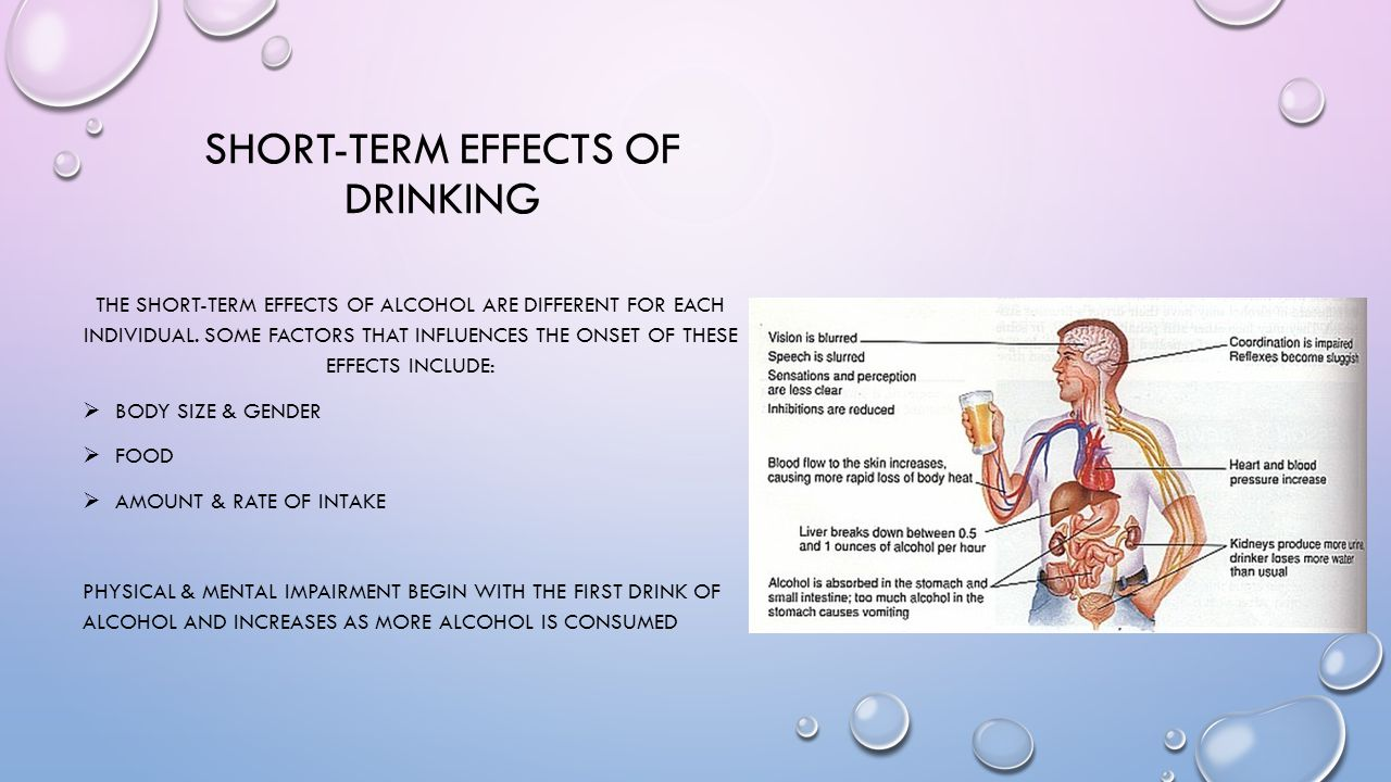 SHORT-TERM EFFECTS OF DRINKING THE SHORT-TERM EFFECTS OF ALCOHOL ARE DIFFERENT FOR EACH INDIVIDUAL. SOME FACTORS THAT INFLUENCES THE ONSET OF THESE EF