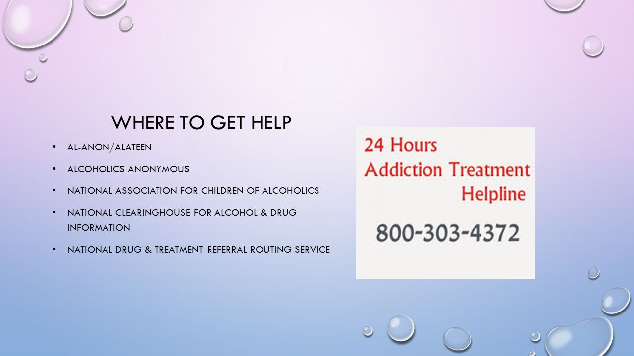 WHERE TO GET HELP AL-ANON/ALATEEN ALCOHOLICS ANONYMOUS NATIONAL ASSOCIATION FOR CHILDREN OF ALCOHOLICS NATIONAL CLEARINGHOUSE FOR ALCOHOL & DRUG INFOR