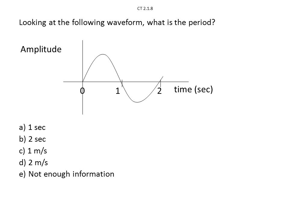 CT 2.1.8 Amplitude time (sec) 12 Looking at the following waveform, what is the period.