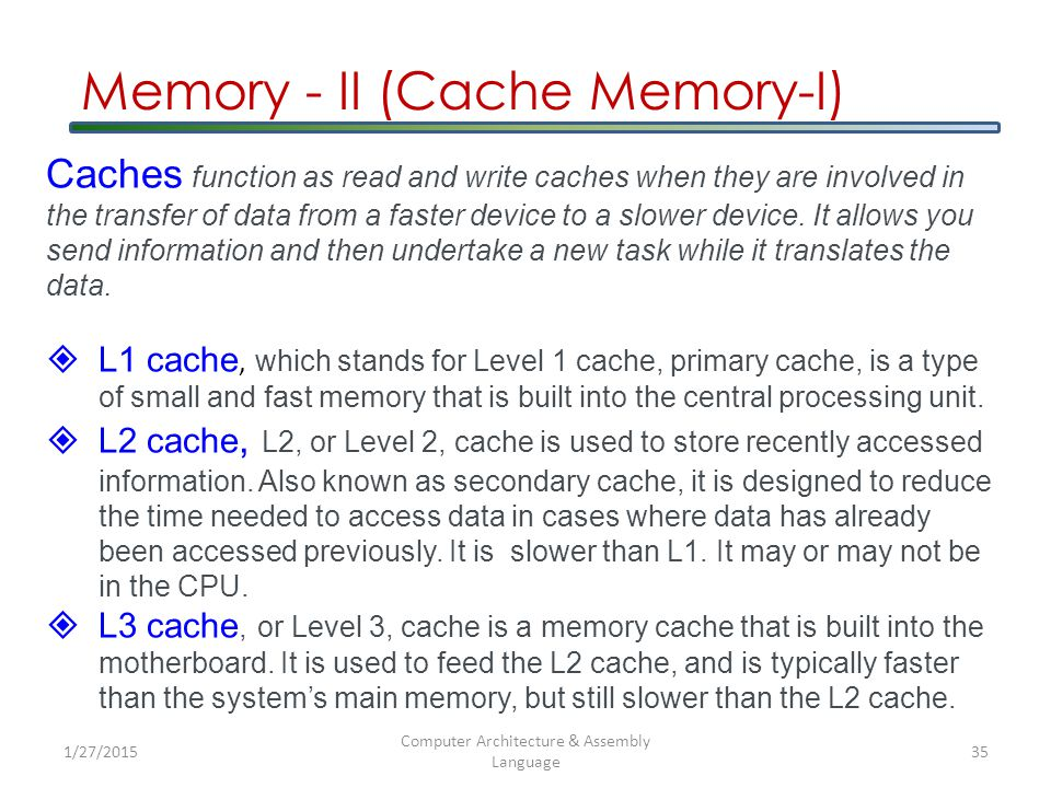 Memory - II (Cache Memory-I) Caches function as read and write caches when they are involved in the transfer of data from a faster device to a slower device.