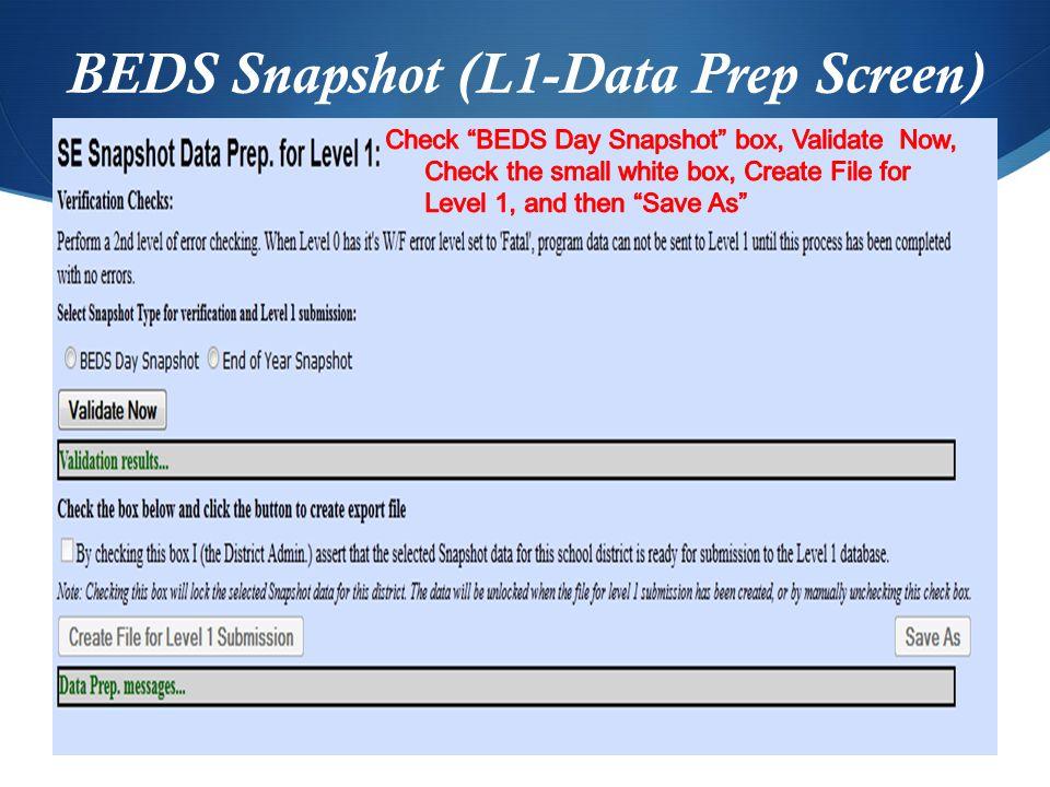 BEDS Snapshot (L1-Data Prep Screen)