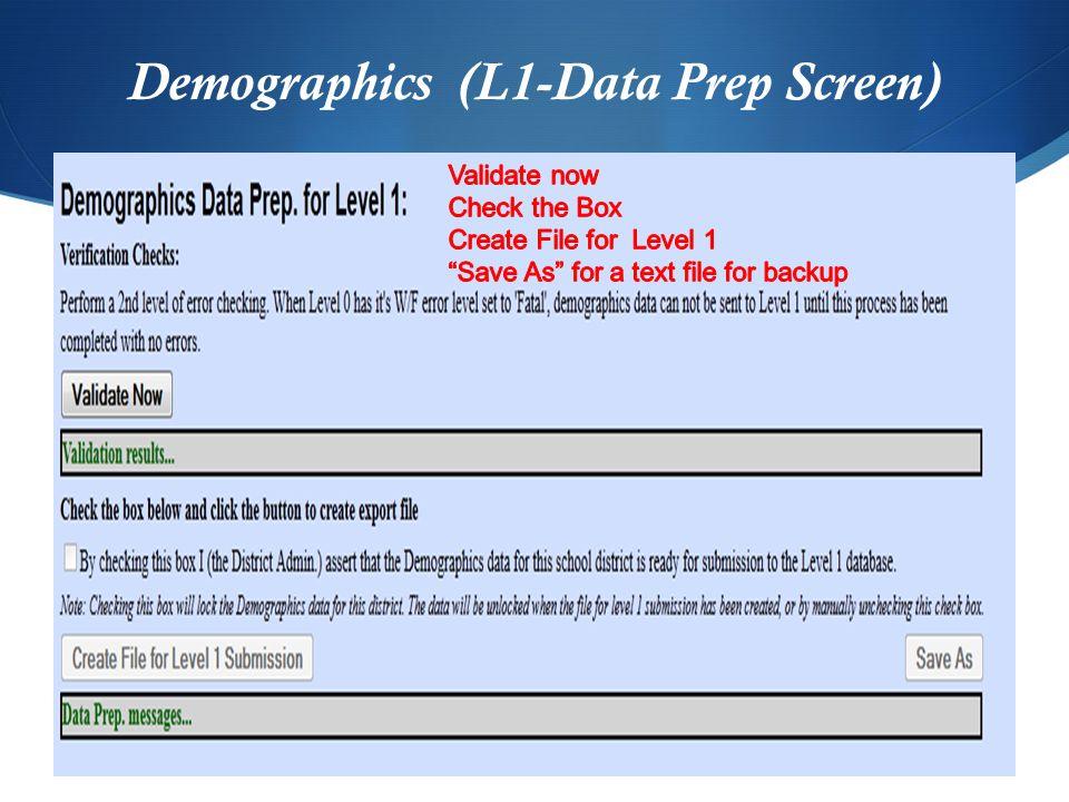 Demographics (L1-Data Prep Screen)