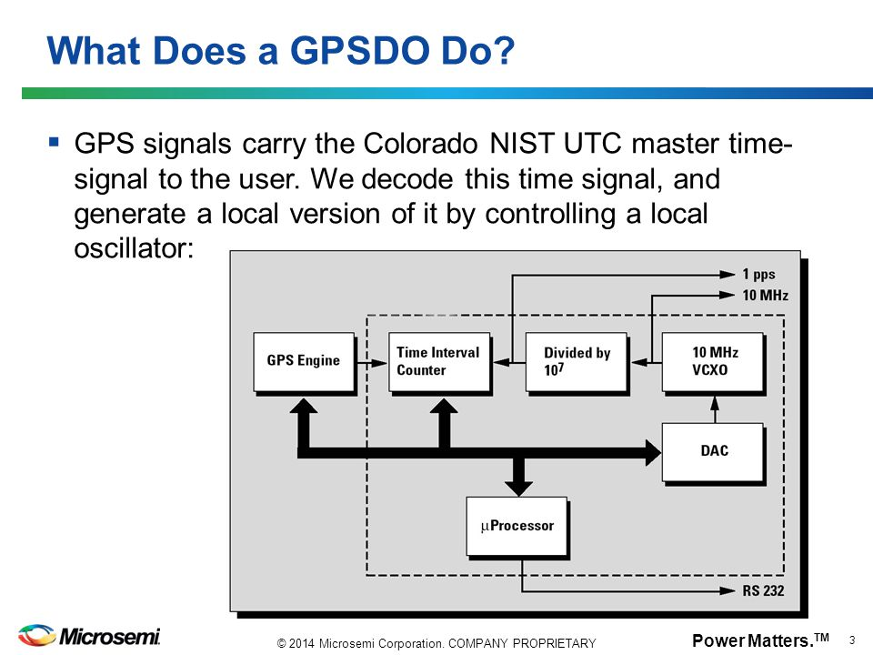 Power Matters. TM 3 © 2014 Microsemi Corporation. COMPANY PROPRIETARY What Does a GPSDO Do?  GPS signals carry the Colorado NIST UTC master time- sig