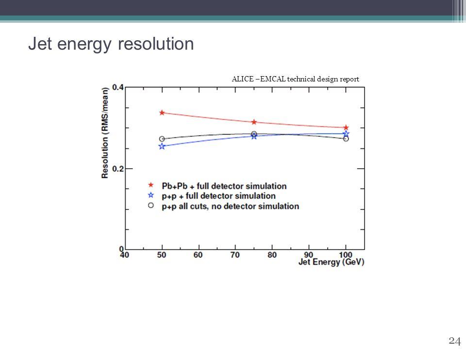 Jet energy resolution 24 ALICE –EMCAL technical design report