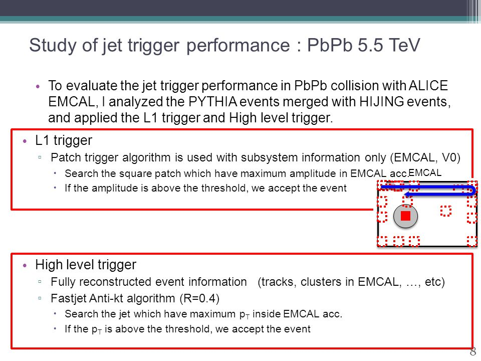 Study of jet trigger performance : PbPb 5.5 TeV To evaluate the jet trigger performance in PbPb collision with ALICE EMCAL, I analyzed the PYTHIA events merged with HIJING events, and applied the L1 trigger and High level trigger.