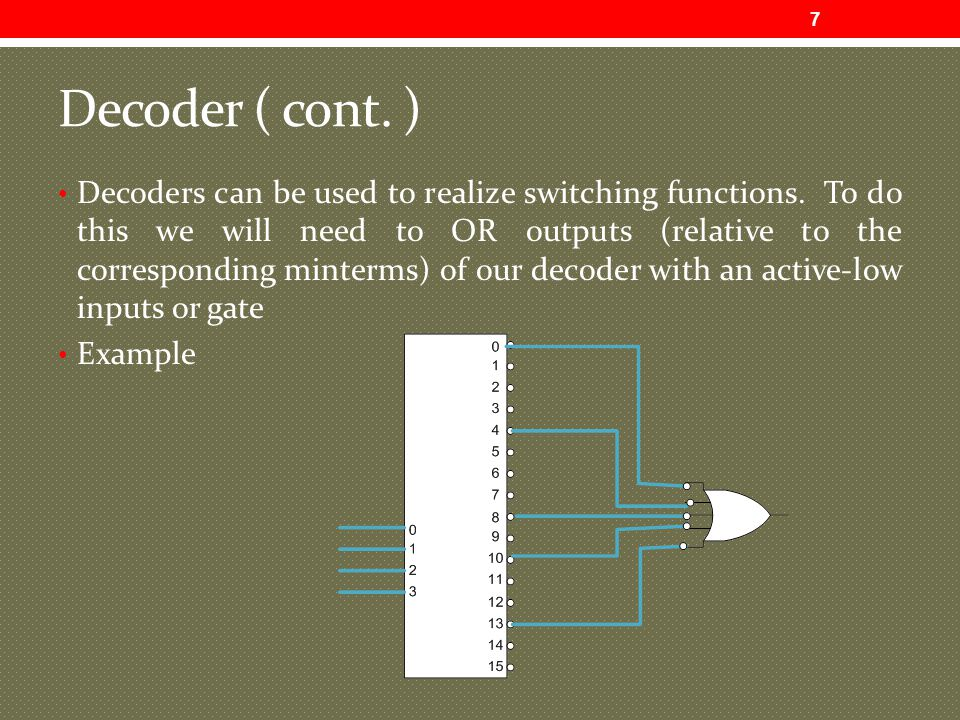 Decoder ( cont.) Decoders can be used to realize switching functions.