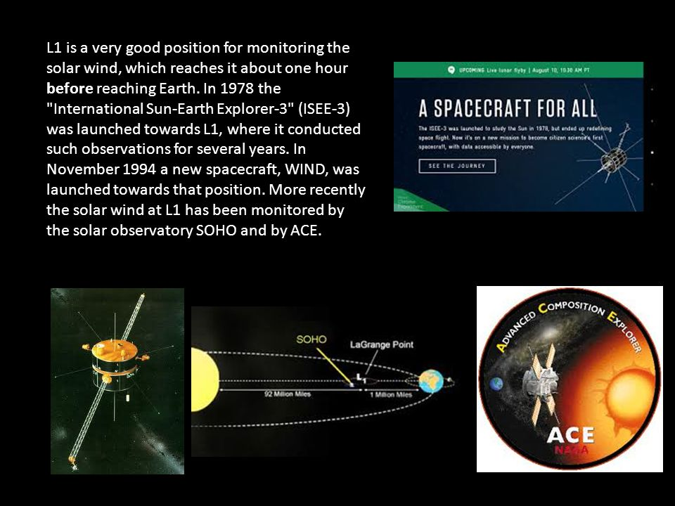 DSCVR launches later this month to study the solar wind. It will be placed at L1.