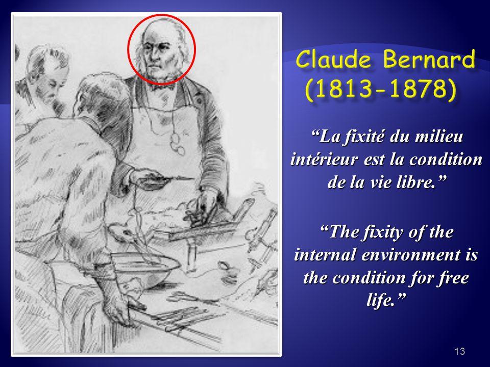 """""""La fixité du milieu intérieur est la condition de la vie libre."""" """"The fixity of the internal environment is the condition for free life."""" 13"""