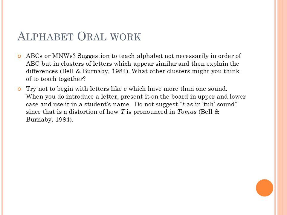 A LPHABET O RAL WORK ABCs or MNWs.