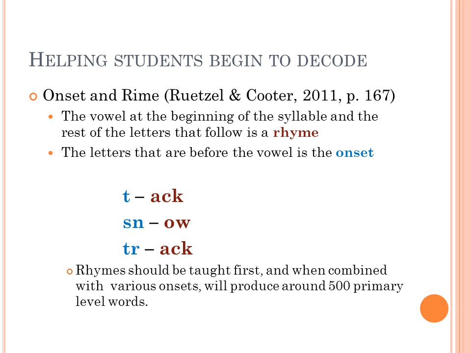 H ELPING STUDENTS BEGIN TO DECODE Onset and Rime (Ruetzel & Cooter, 2011, p.
