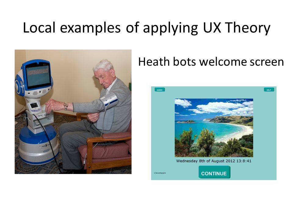 Local examples of applying UX Theory Heath bots welcome screen