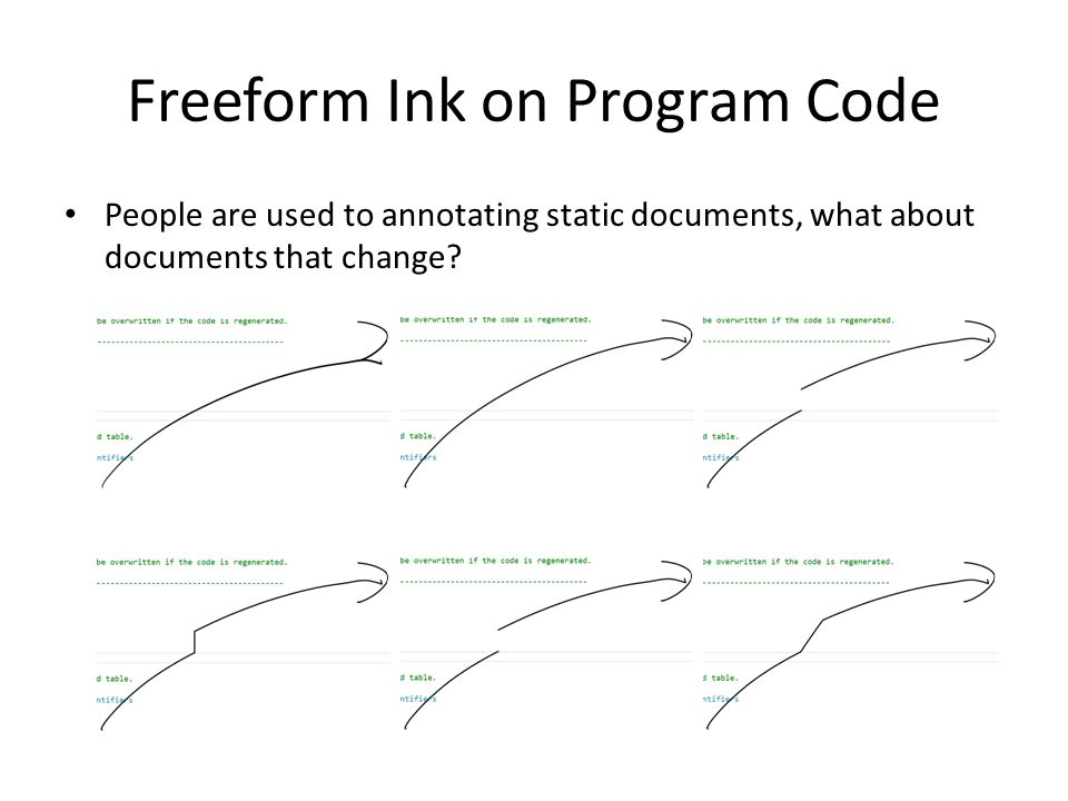 Freeform Ink on Program Code People are used to annotating static documents, what about documents that change?