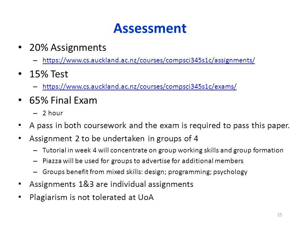 Assessment 20% Assignments – https://www.cs.auckland.ac.nz/courses/compsci345s1c/assignments/ https://www.cs.auckland.ac.nz/courses/compsci345s1c/assi